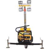 torre ligera portable del mástil manual del gas de la altura de los 4.5m con la luz del halógeno