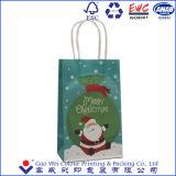カスタム低価格の白いクラフトのクラフトのメリークリスマスの紙袋、ギフトの紙袋