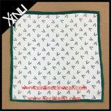 Hommes, soie, soie, personnalisé, imprimé, roulé, mouchoir, couleur, bordure