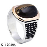 925 anelli d'argento degli uomini di modo con la pietra naturale