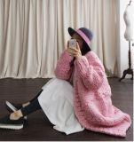 Super grande hilados de lana tejida a mano voluminosos patrones suéter