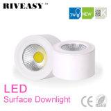 iluminación blanca montada superficie de Downlight LED de la MAZORCA de 3W LED