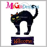 Металлические Хэллоуин Cat висящих Добро пожаловать Вход настенные украшения