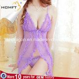 Nightgown цветастого сексуального отвесного женское бельё Tulle прозрачного эротичного установленный полуночный горячий