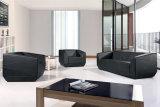 Sofà di cuoio sezionale del salone della mobilia domestica moderna nera