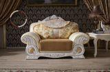 ヨーロッパ式の贅沢な居間の上のグレーンレザーのソファー