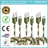 câble tressé en nylon de chargeur de cordon du tissu USB de tissu neuf de 2m pour Samsung