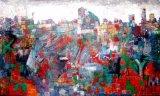 Картина искусствоа стены холстины зеленого цвета Slabstone/печати цифров мраморный каменная на холстине (модельном нет: Hx-4-134)