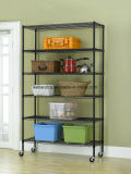 6 Tiers Black Epoxy Coated Steel Wire Shelving for Sundries Storage & Garage Storage