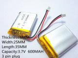 Polímero de lítio 3,7 V, 600 mAh 602535