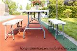 Tabela de dobradura resistente de pouco peso de 6FT, mobília do pátio, tabela ao ar livre