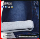 Terry Soft Woven Fake Knit Algodão Stretch Indigo Denim Fabric