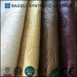 Couro sintético gravado do PVC para o sofá