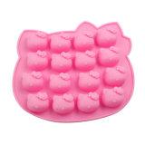 Certificat de la FDA de matériel de qualité alimentaire moule à cake en silicone, 16pcs Hello Kitty en forme de moule à cake en silicone / Hello Kitty Moule de glace de forme