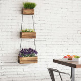 Black Metal Iron Chains를 가진 시골풍 Wood Wall Hanging Planter Boxes