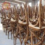 Coxim Stackable do Matting da cadeira do pátio do partido da parte traseira da cruz da madeira contínua da qualidade da fonte