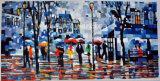 Впечатляющая народа под дождь ландшафт картины маслом для украшения
