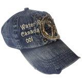 Boné de beisebol lavado do chapéu do paizinho das calças de brim com o logotipo