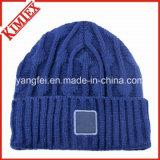 Beanies feitos malha costume do chapéu da alta qualidade do acrílico de 100%