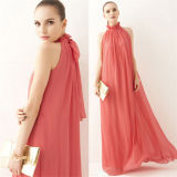 Mulheres High Neck Halter Chiffon Long Party Dress com Belt
