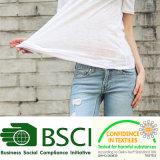 Llanura de la moda 100% Algodón Slub Camiseta mujer blanca