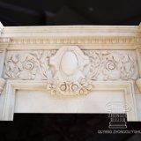 Lado Entalhado Lareira Francês Mantel com esculturas de Flores design antigo