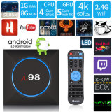I98 Android Market 7.1.2 Caixa de TV com chips Amlogic S905X 1GB/8GB de RAM e ROM de luz LED Changeable 2,4Ghz Suporte WiFi HD 4K