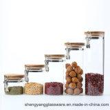 Kruik van het Glas Borosilicate van de goede Kwaliteit de Hoge met Houten Deksel