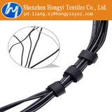 Ataduras de cables ajustables negras del gancho de leva y del bucle