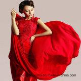 Fußboden-Länge Chiffon- Stickerei-Hochzeits-Kleid-Spitze-Backless Abschlussball-Kleider