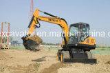 7 toneladas de peso operativo y la nueva condición de la excavadora ruedas excavadora HT75W para la venta