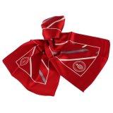 Diseño personalizado en rojo las rayas blancas de seda pura el logotipo impreso bufanda