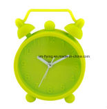 Couleur fluorescente incassable Twin Bell Snooze Mute Silicone Mini table Alarm Clock
