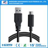 Schwarzer USB3.1 Typ C Konverter-Daten-Aufladeeinheits-Kabel zum USB-3.0 morgens