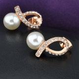 Серьга перлы шикарного золота вспомогательного оборудования венчания кристаллический