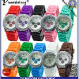 La alineada de lujo de las mujeres del reloj de manera de las mujeres de los relojes del silicón de Ginebra de la marca de fábrica del reloj caliente Yxl-901 2016 mira los relojes de Relogies Masculinos