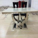Tabella pranzante della mobilia moderna con la parte superiore di marmo