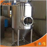 El acero inoxidable del tanque de fermentación de la cerveza