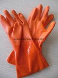 Reutilizáveis vermelha luvas industriais de PVC resistente a produtos químicos