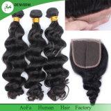 Fechamento Curly do laço do cabelo da onda do Virgin brasileiro não processado