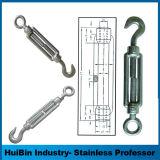中国の炭素鋼の索具のハードウェアは安全ワイヤーのためのホックおよびホックのターンバックルのターンバックルの顎及び顎DIN1480を造った