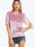 여자 형식 의류 우단 둥근 목 t-셔츠