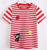 형식 줄무늬 해군 소녀 t-셔츠