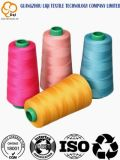 100% hilo de coser hecho girar poliester de alta calidad en colores teñidos