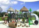 Campo de jogos plástico comercial antigo clássico da série Kq60012A LLDPE do tribo de Kaiqi com corrediça, carrinho do petisco e montanhista