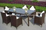 Un patio per qualsiasi tempo delle 6 persone che pranza la mobilia esterna del giardino