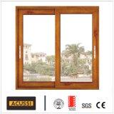 Doppio grano di legno insonorizzato impermeabile di alluminio di tempera della finestra di scivolamento di vendita calda di vetro per il progetto di costruzione