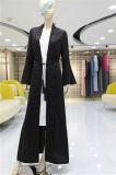 Commerce de gros de vêtements Cardigans islamique fashion style vestimentaire musulman Couleur Pure Abaya manteaux robe noire à manchon long