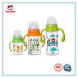 8 Oz Wide Neck plástico bebê leite garrafa com alças
