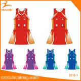 女の子TeamwearのためのHealongのスポーツ・ウェアの昇華ネットボールの服